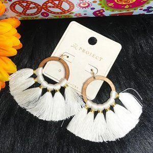 Boho Earrings Fan Tassel Hoop Drop Dangles Ivory